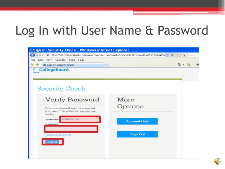 Log in with user name password