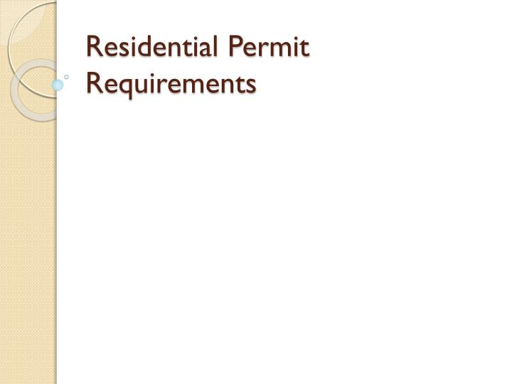 residential permit requirements n.