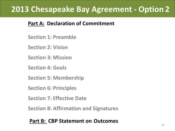 2013 Chesapeake Bay Agreement - Option