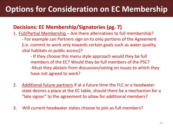 Options for Consideration on EC Membership