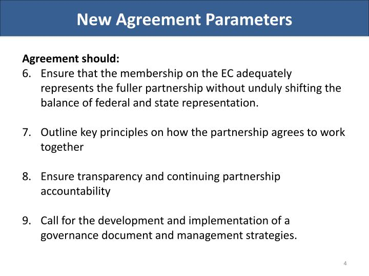 New Agreement Parameters