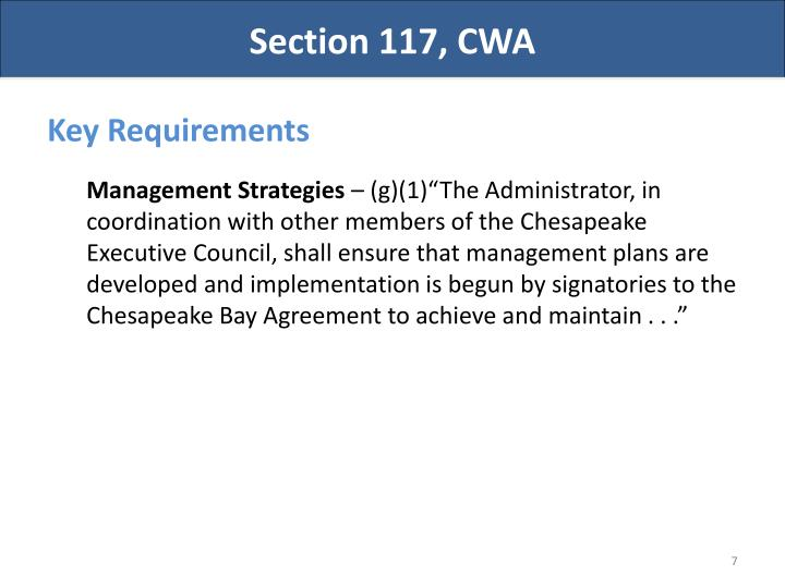Section 117, CWA
