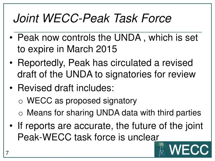 Joint WECC-Peak Task Force