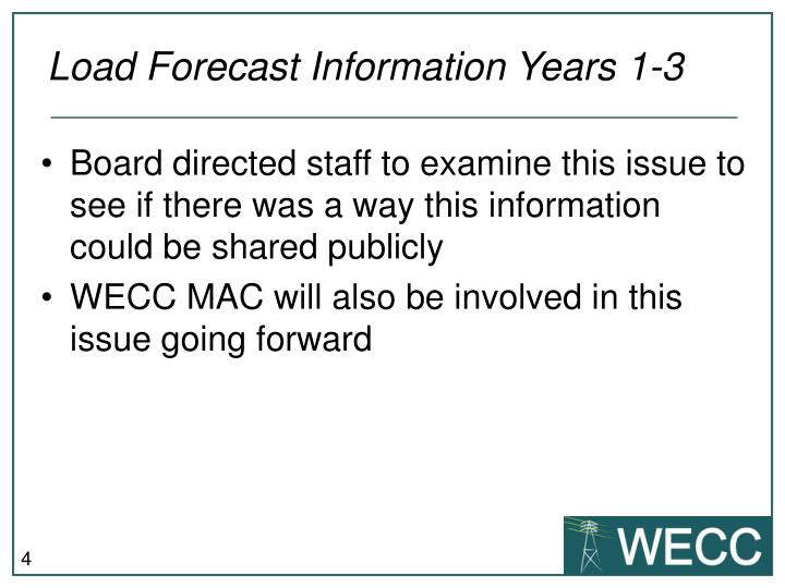 Load Forecast Information Years 1-3