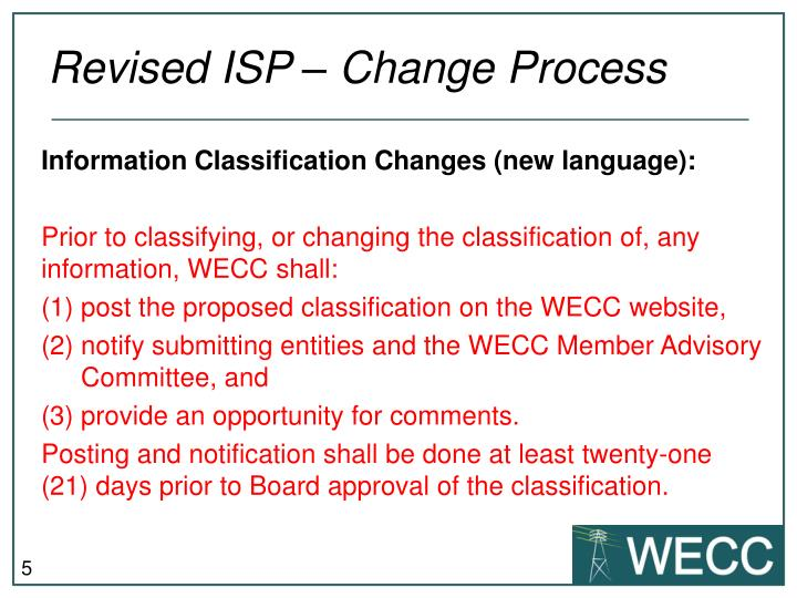 Revised ISP – Change Process
