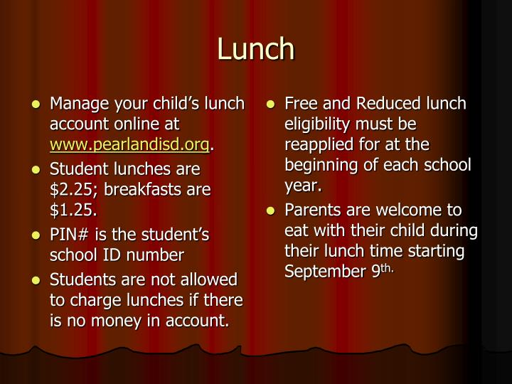 Manage your child's lunch account online at