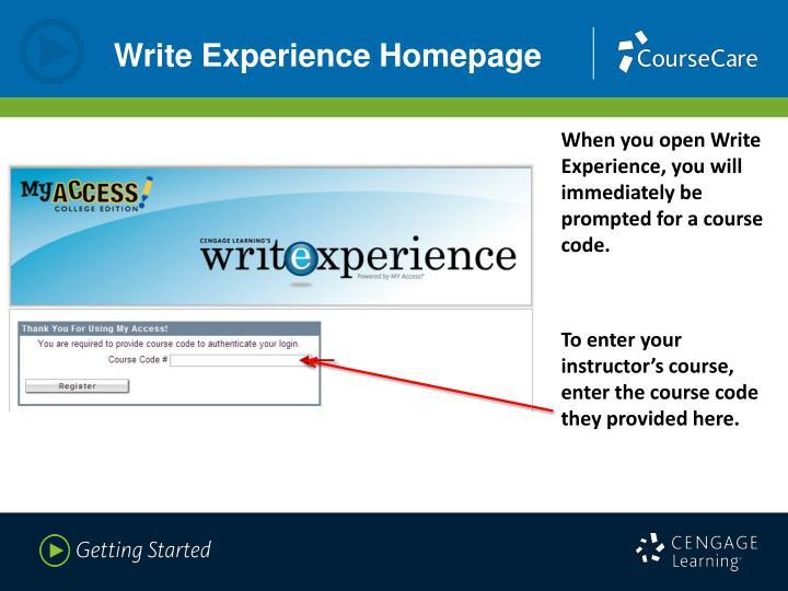 Write Experience Homepage