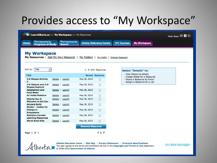 "Provides access to ""My Workspace"""