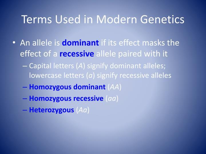 Terms Used in Modern Genetics