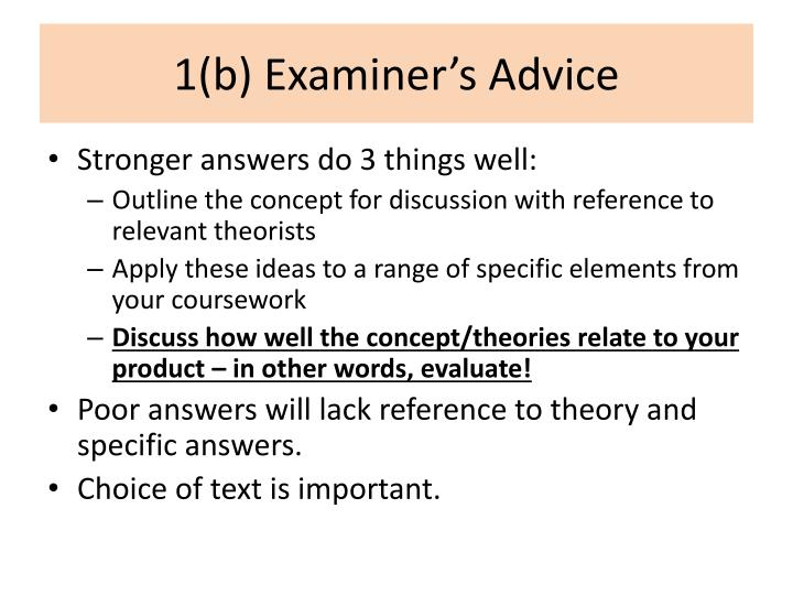 1 b examiner s advice