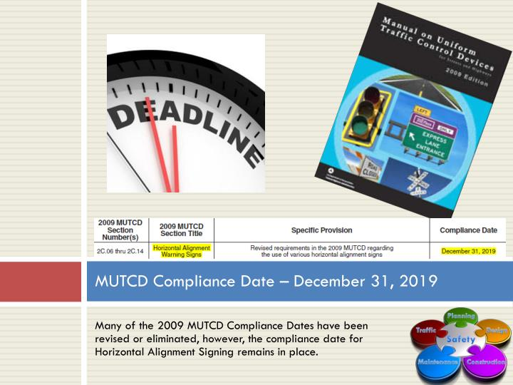 MUTCD Compliance Date – December 31, 2019