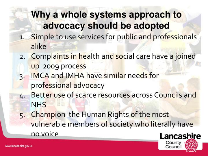 Why a whole systems approach to advocacy should be adopted