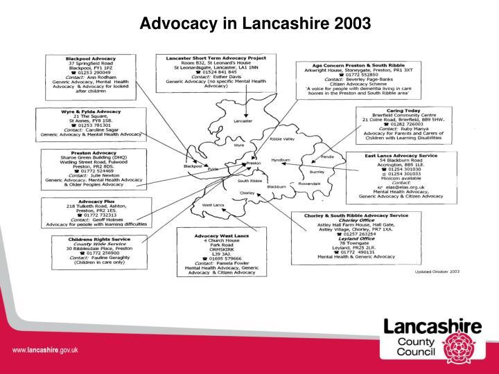 Advocacy in Lancashire 2003
