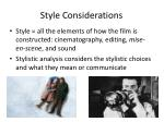 style considerations