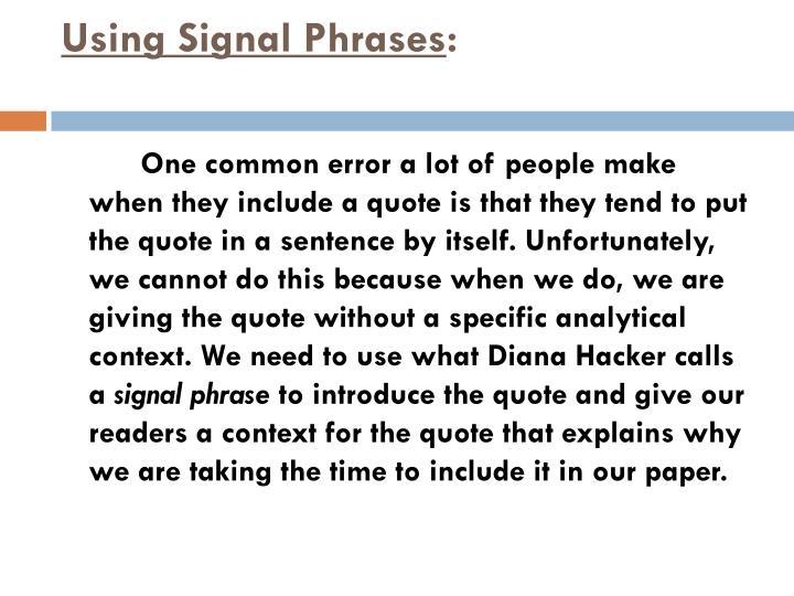 Using signal phrases