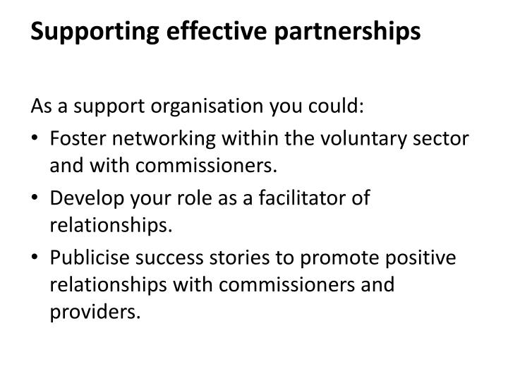 Supporting effective partnerships