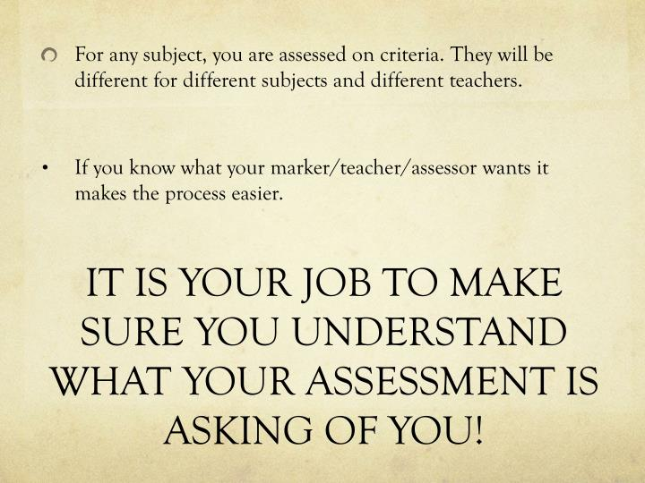 IT IS YOUR JOB TO MAKE SURE YOU UNDERSTAND WHAT YOUR ASSESSMENT IS ASKING OF YOU!