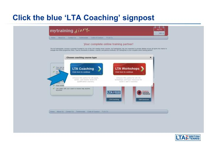 Click the blue lta coaching signpost