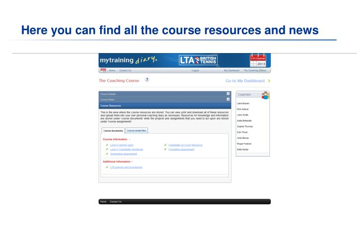 Here you can find all the course resources and news