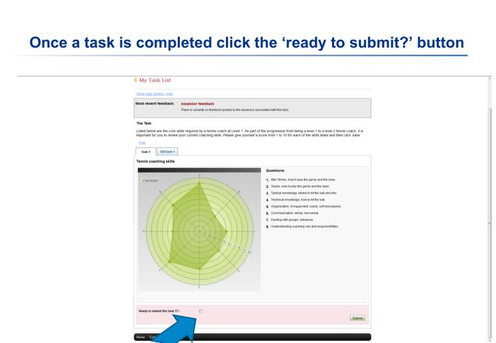 Once a task is completed click the 'ready to submit?' button