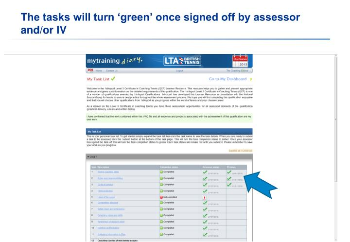 The tasks will turn 'green' once signed off by assessor and/or IV