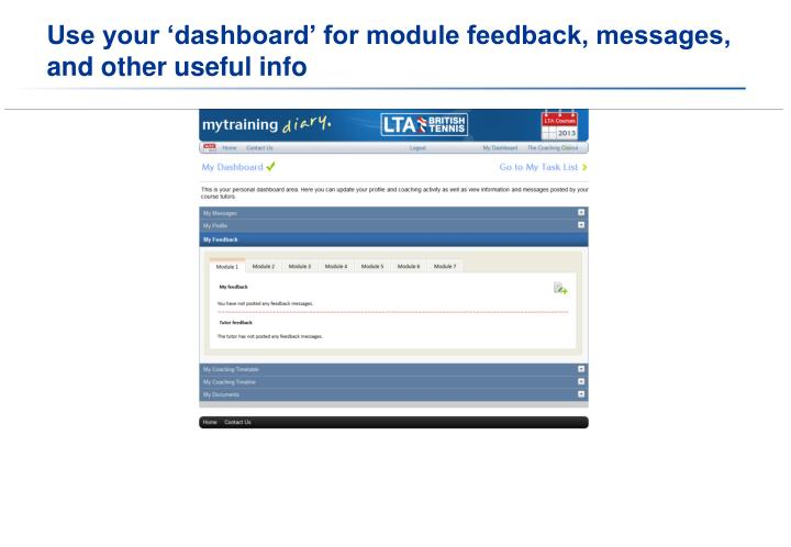 Use your 'dashboard' for module feedback, messages, and other useful info