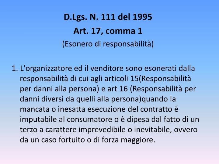 D.Lgs. N. 111 del 1995