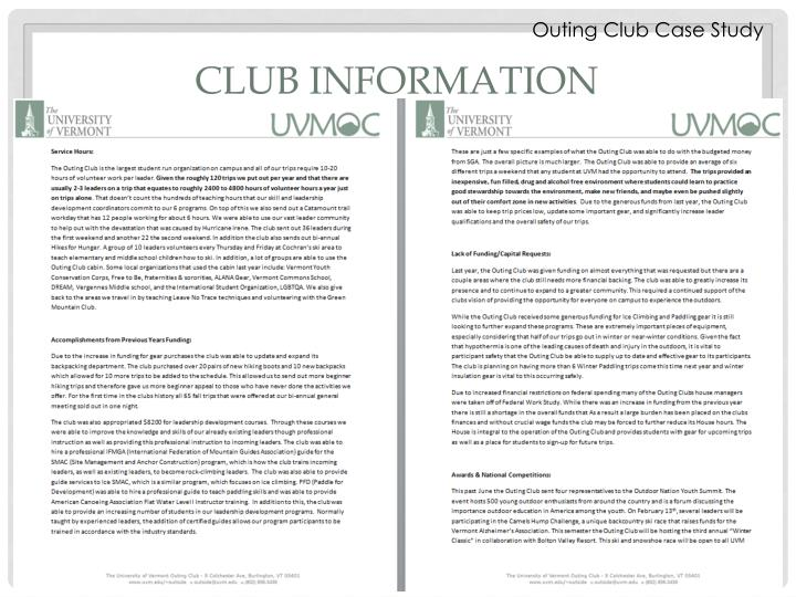 Outing Club Case Study