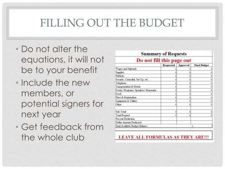 Filling out the budget