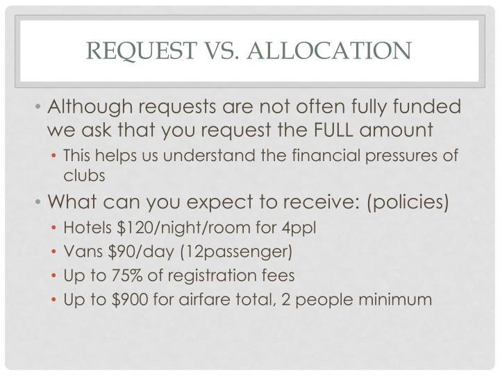 Request vs. Allocation