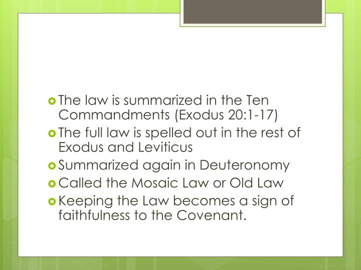 The law is summarized in the Ten Commandments (Exodus 20:1-17)