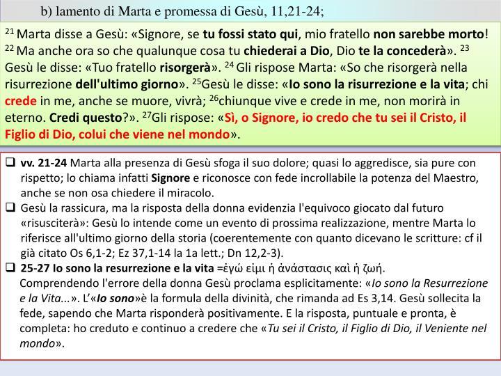 b) lamento di Marta e promessa di Ges