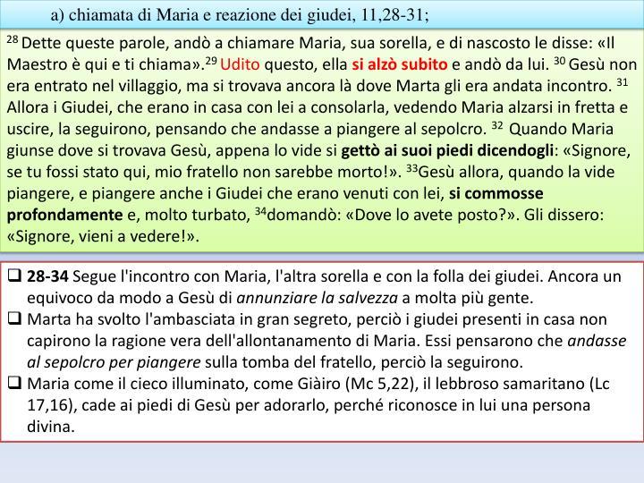 a) chiamata di Maria e reazione dei giudei, 11,28-31;