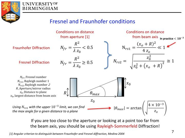 Fresnel and Fraunhofer conditions