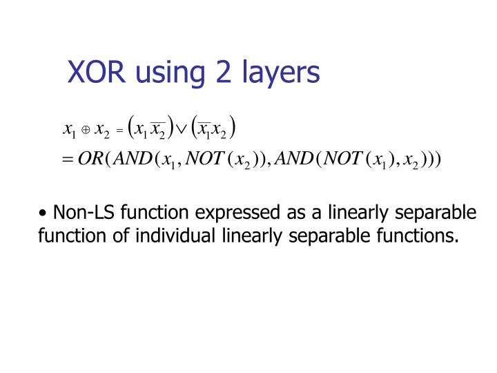 XOR using 2 layers