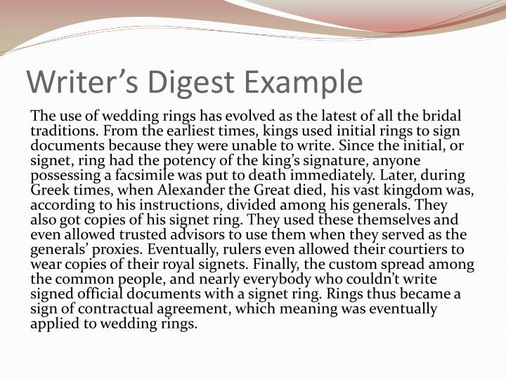 Writer s digest example