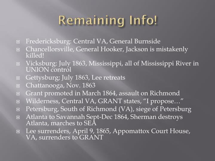 Remaining Info!