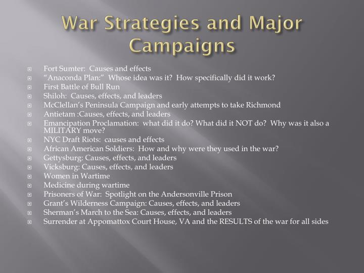 War Strategies and Major Campaigns