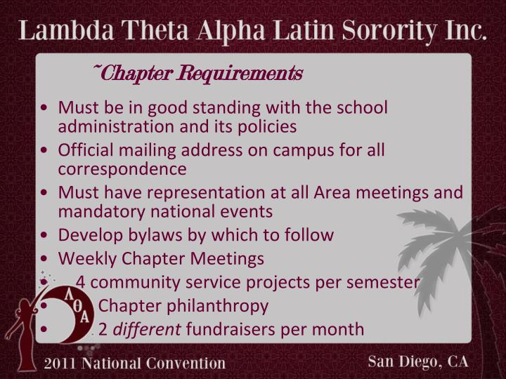 ~Chapter Requirements