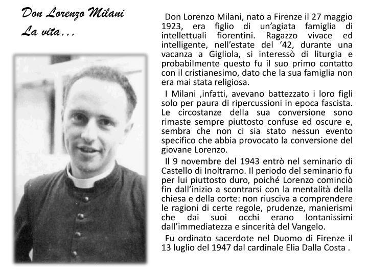 Don lorenzo milani la vita
