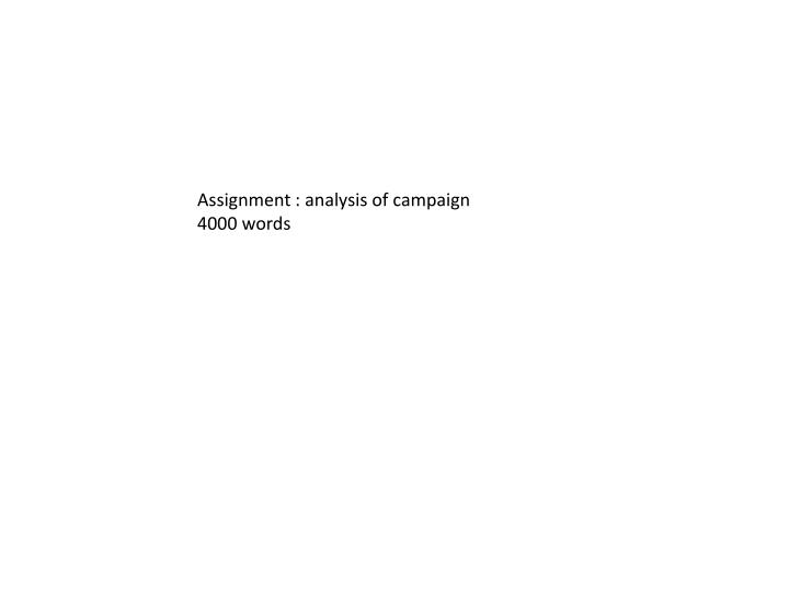 Assignment : analysis of