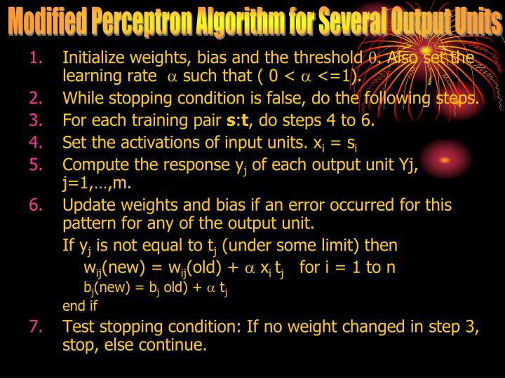 Modified Perceptron Algorithm for Several Output Units