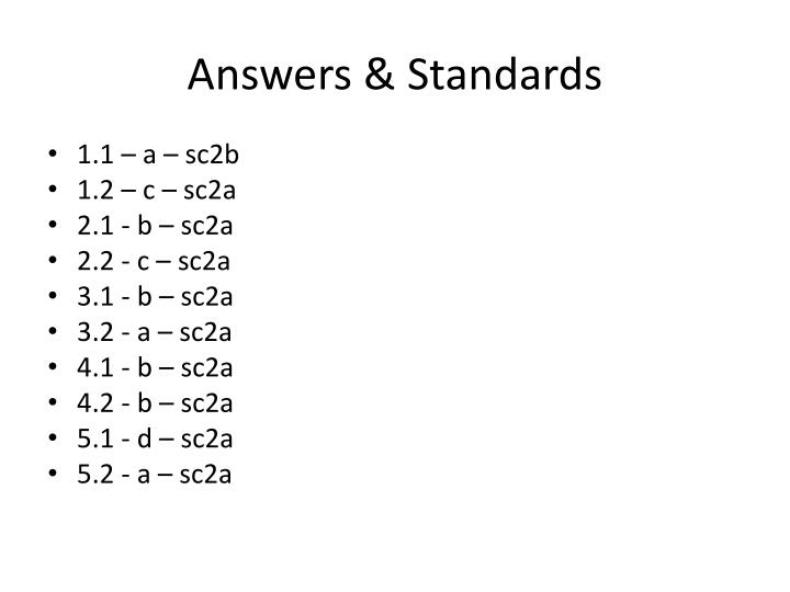 Answers & Standards