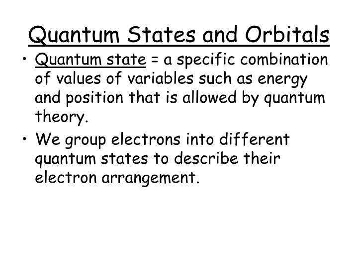Quantum states and orbitals