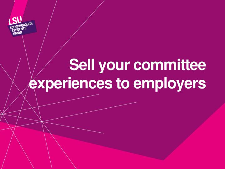 Sell your committee experiences to employers