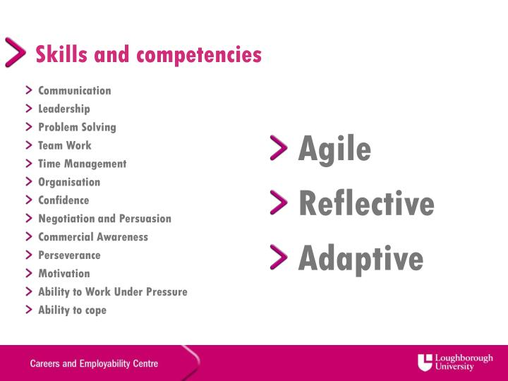Skills and competencies