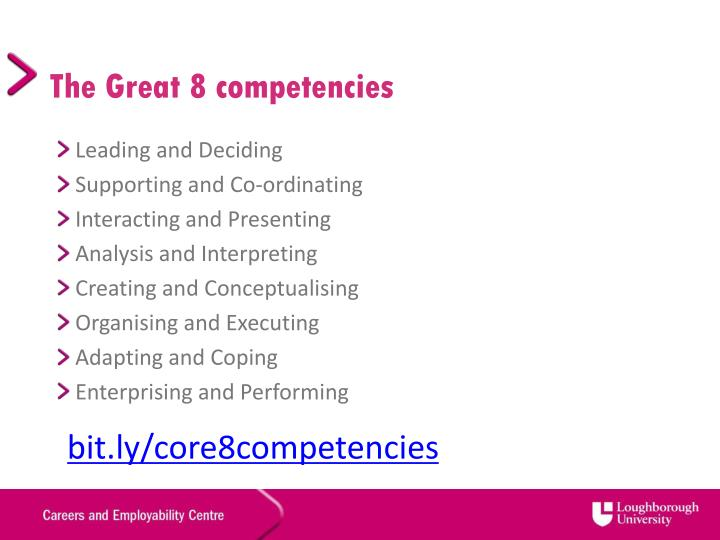 The Great 8 competencies
