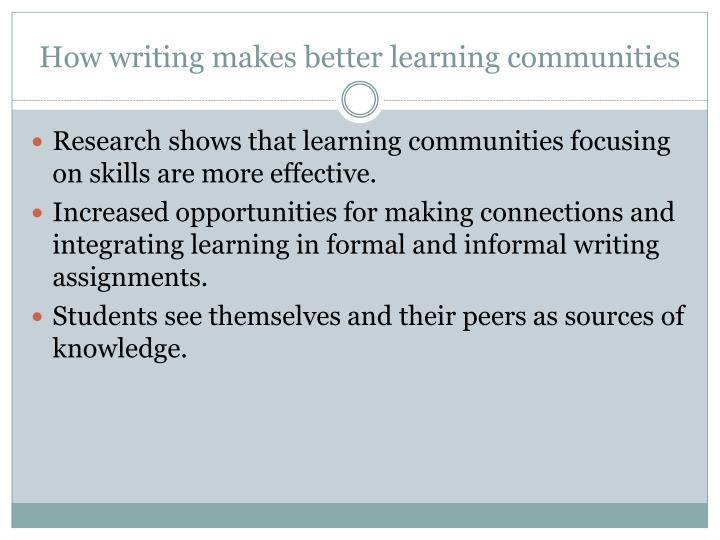 How writing makes better learning communities