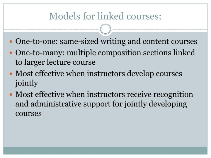 Models for linked courses: