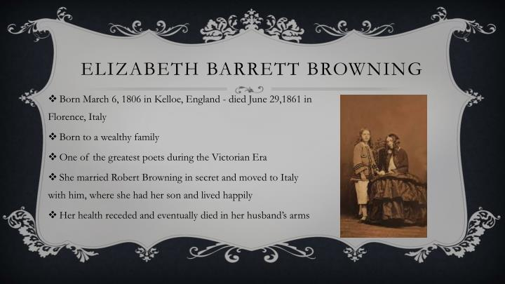 elizabeth barrett browning an essay on mind and other poems Elizabeth barrett browning was born 6th march 1806, at coxhoe hall, durham, england she was the oldest of twelve children, and her family made their fortune from jamaican sugar plantations.